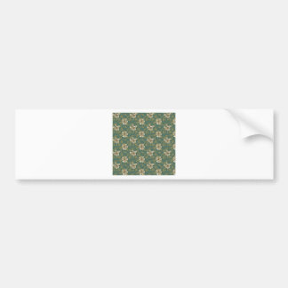 Retro Green Floral Bumper Sticker
