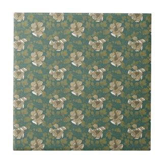 Retro Green Floral Tile