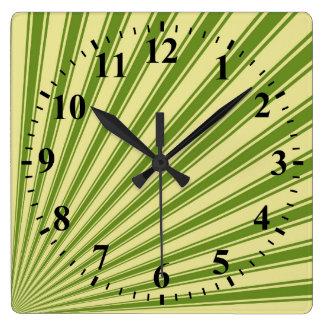 Retro Green Funky Sun Rays Background Square Wall Clocks
