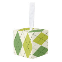 Retro Green Geometric Argyle Pattern Cube Ornament