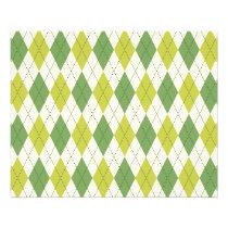 Retro Green Geometric Argyle Pattern Flyer
