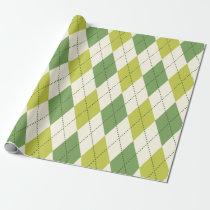 Retro Green Geometric Argyle Pattern Wrapping Paper
