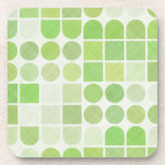 Retro Green Geometric Pattern Coaster