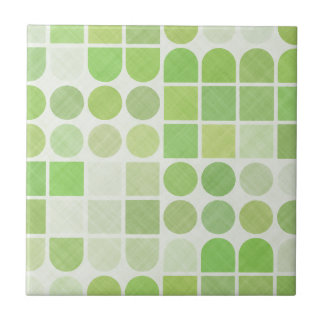 Retro Green Geometric Pattern Tile