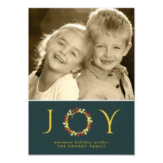 Retro Green Gold Holiday Joy Floral Wreath Photo 4.5x6.25 Paper Invitation Card
