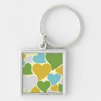 Retro Green Hearts Keychain