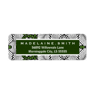 Retro Green Leafy Print with White Label