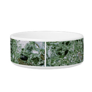 Retro Green Marble Stone Texture Pattern Pet Bowls
