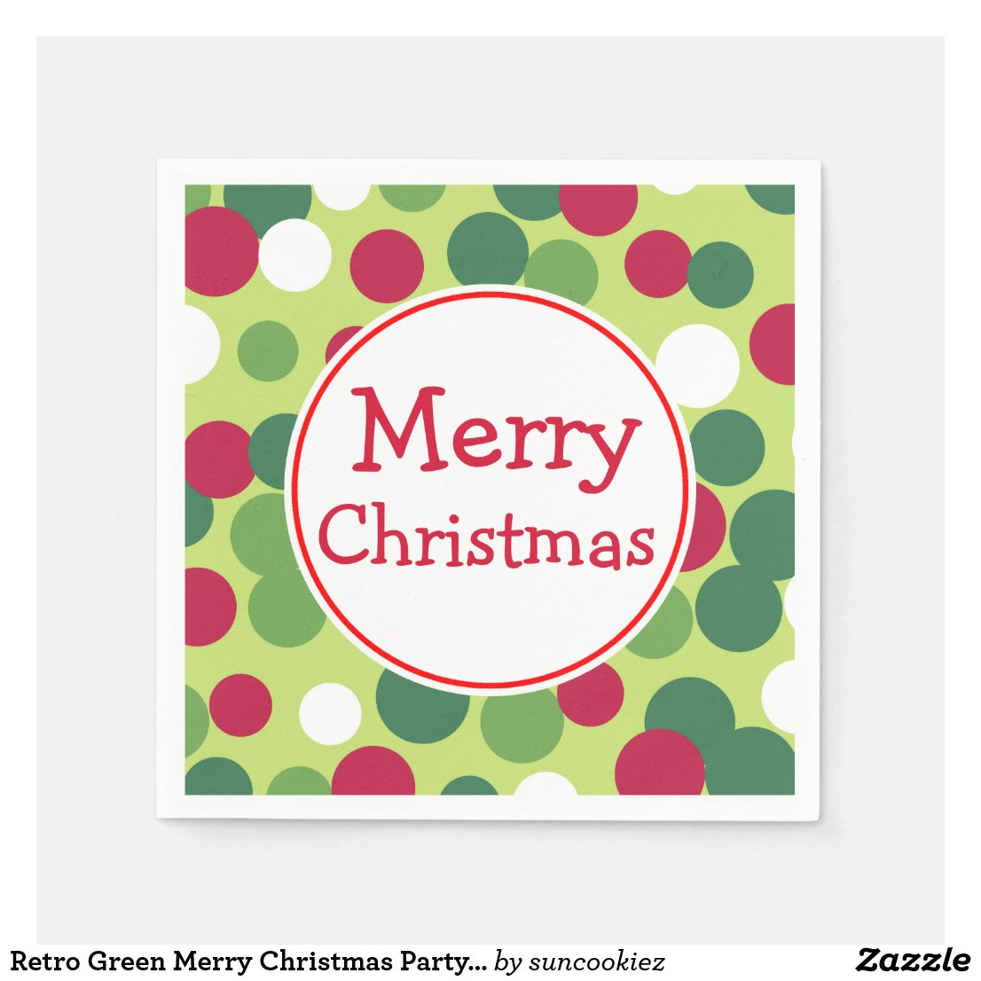 Retro Green Merry Christmas Party Napkins