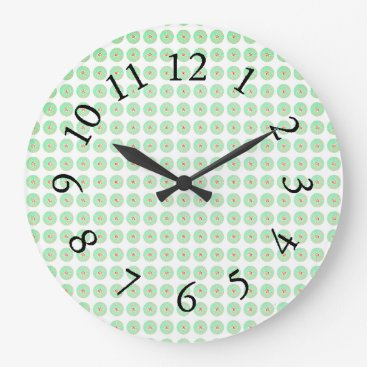 Professional Business Retro-Green-Mod-Floral-Accent-Clocks Large Clock