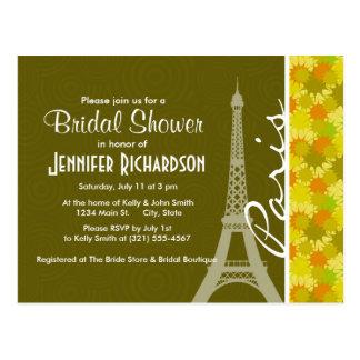 Retro Green & Orange Eiffel Tower Postcard