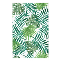 Retro Green Palm Leaves Style Pattern Design Stationery