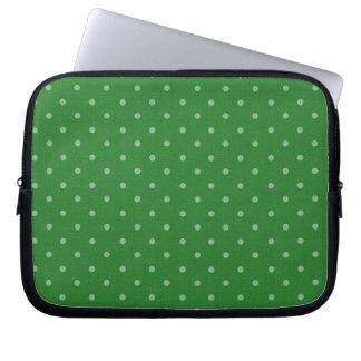 retro green polka dot laptop computer sleeves