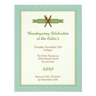 Retro green polka dots frame hostess dinner party card