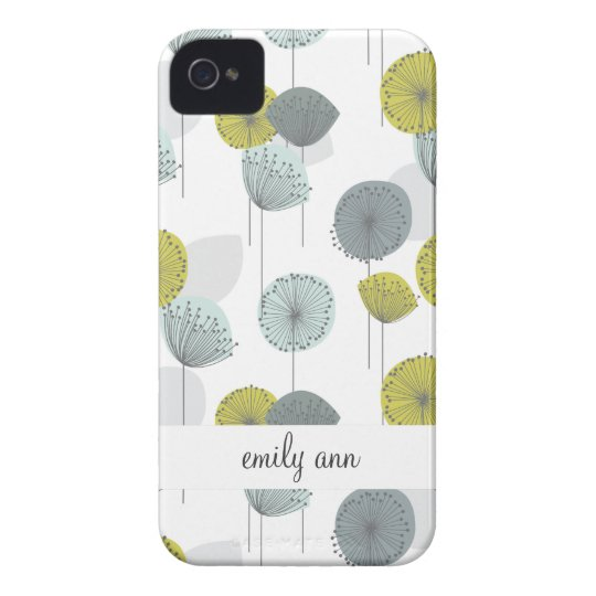 Retro Green Poppies Flowers Pattern iPhone 4 Case