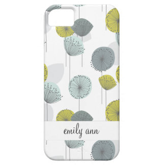 Retro Green Poppies Flowers Pattern iPhone SE/5/5s Case