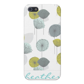 Retro Green Poppies Flowers Pattern iPhone SE/5/5s Cover
