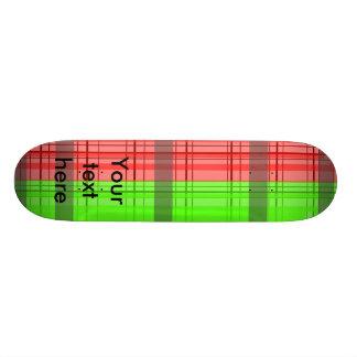 Retro green red transparent plaid custom skate board