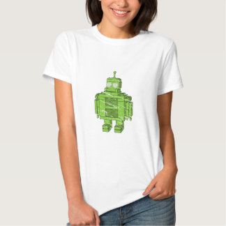 Retro Green Robot with Scratches Shirt