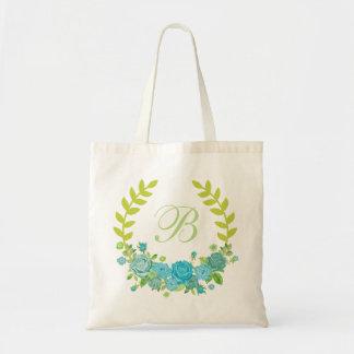 Retro green rustic vintage Floral wreath tote bag