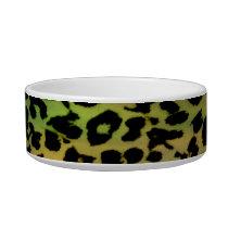 Retro green seamless animal print texture bowl
