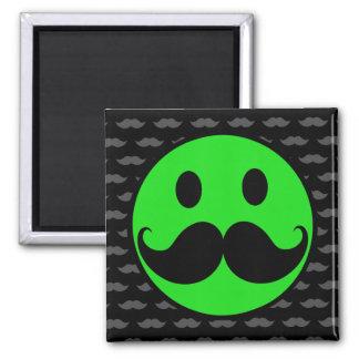 Retro Green Smiley Mustache Moustache Stache 2 Inch Square Magnet