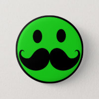 Retro Green Smiley Mustache Moustache Stache Button