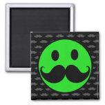 Retro Green Smiley Mustache Moustache Stache Fridge Magnet