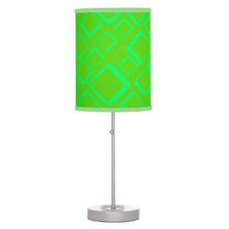 Retro Green Squares On Green Table Lamp