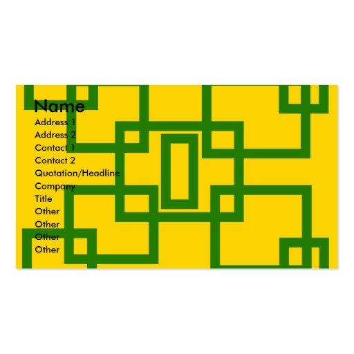 Retro green squares on yellow background Double-Sided standard business cards (Pack of 100)