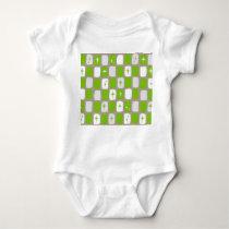 Retro Green Starbursts Baby Bodysuit