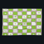 "Retro Green Starbursts Kitchen Towel<br><div class=""desc"">This Retro Green and White Starbursts Kitchen Towel is so adorably space age you won't be able to contain your enthusiasm. And, why would you want to? This 1960's mid century modern inspired design features a dark heather grey background and rows of perfectly imperfect rectangles in cheery green, white, and...</div>"