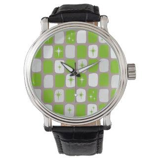 Retro Green Starbursts Leather Watch