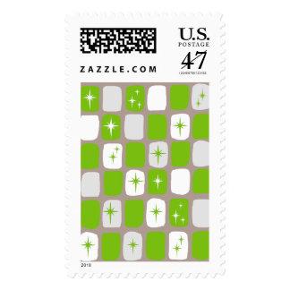 Retro Green Starbursts Postage Stamps