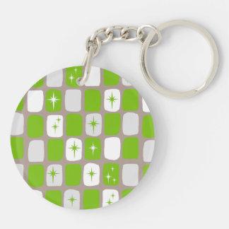 Retro Green Starbursts Round Acrylic Keychain