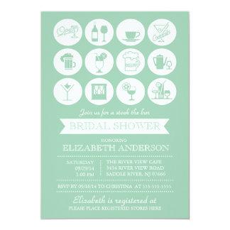 """Retro Green Stock the Bar Bridal Shower Invitation 5"""" X 7"""" Invitation Card"""