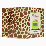 Retro Green Stove & Giraffe Print Recipe Binder