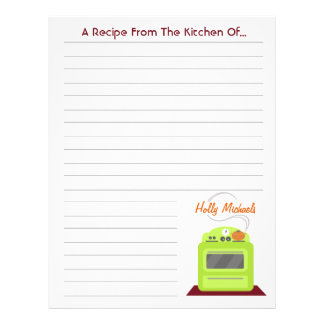 Retro Green Stove Modern Kitchen Recipe Paper