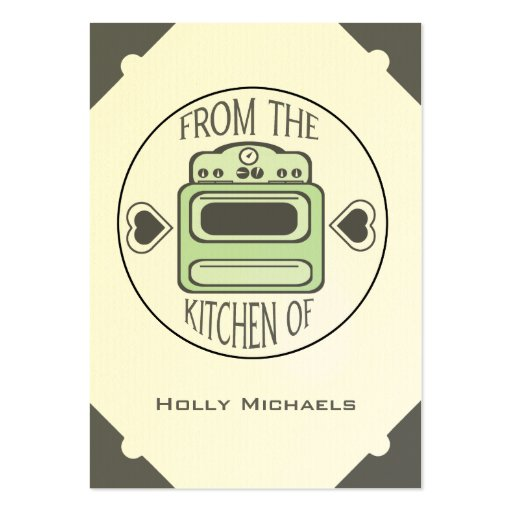 Retro Green Stove Recipe Cards (Set of 100) Large Business Cards (Pack Of 100)