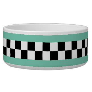 retro green striped checkers bowl