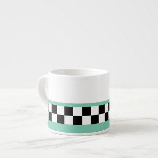 retro green striped checkers espresso cup