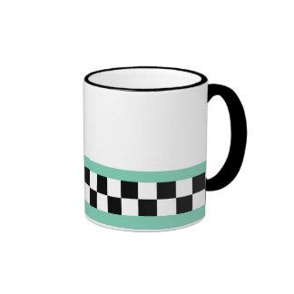 retro green striped checkers ringer mug