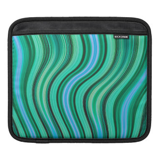 Retro green stripes pattern ipad sleeve