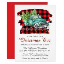 Retro Green Truck Buffalo Plaid Christmas EVE Invitation