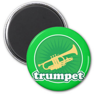 Retro Green Trumpet Music Gift Magnet