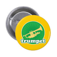 Retro Green Trumpet Music Gift Pins