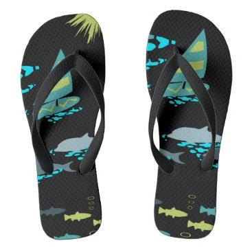 Beach Themed Retro Green Turquoise Black Windsurfer & Dolphins Flip Flops