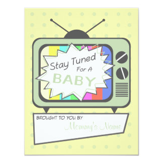 Retro Green TV Set Baby Shower Invitation