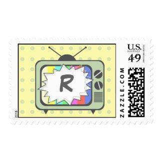 Retro Green TV Set  Monogram Postage Stamp