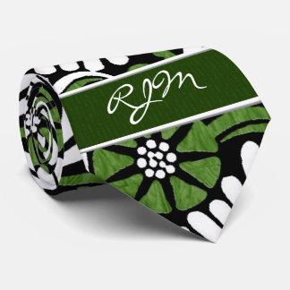 Retro Green, White and Black Fern Leaf Monogram Neck Tie